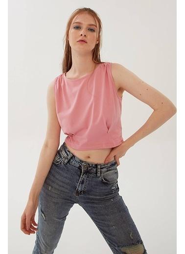 Modaset Crop T-Shirt Pembe Pembe
